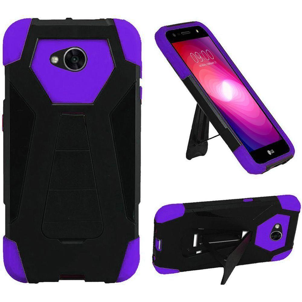 - Mighty Dual Layer Rugged Case with Kickstand, Black/Purple
