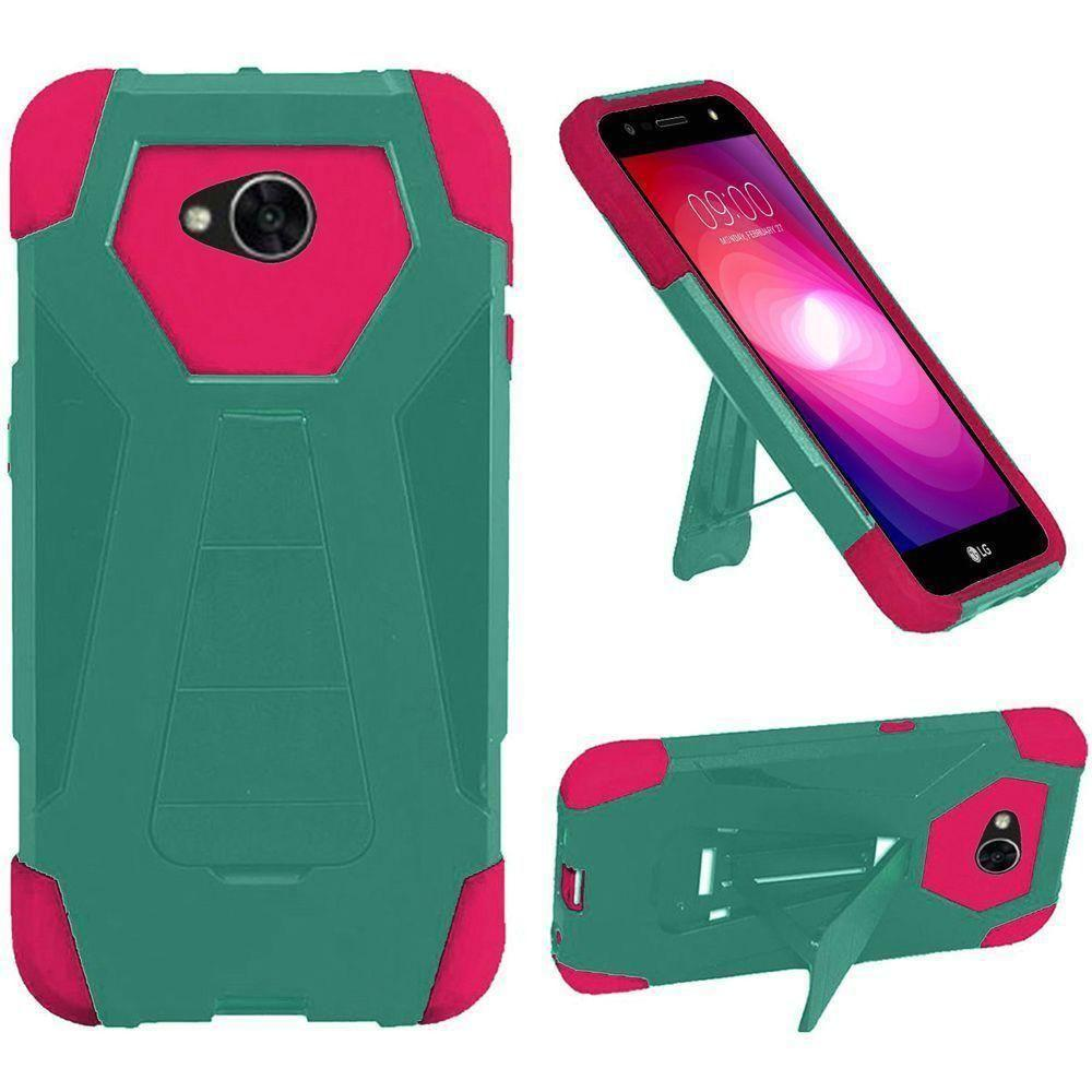 - Mighty Dual Layer Rugged Case with Kickstand, Teal/Hot Pink