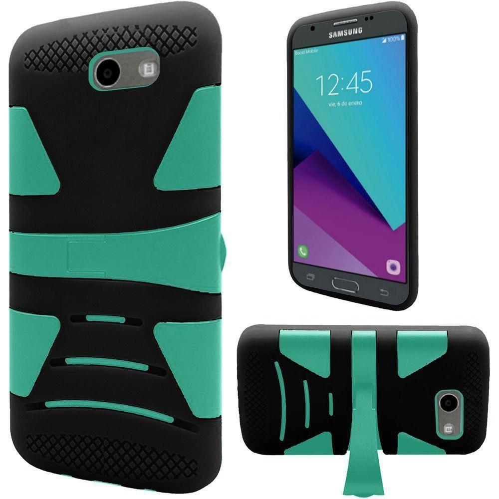 - V2 Armor Guard Rugged Case with Kickstand, Black/Green