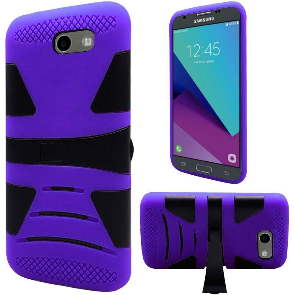 - V2 Armor Guard Rugged Case with Kickstand, Purple/Black