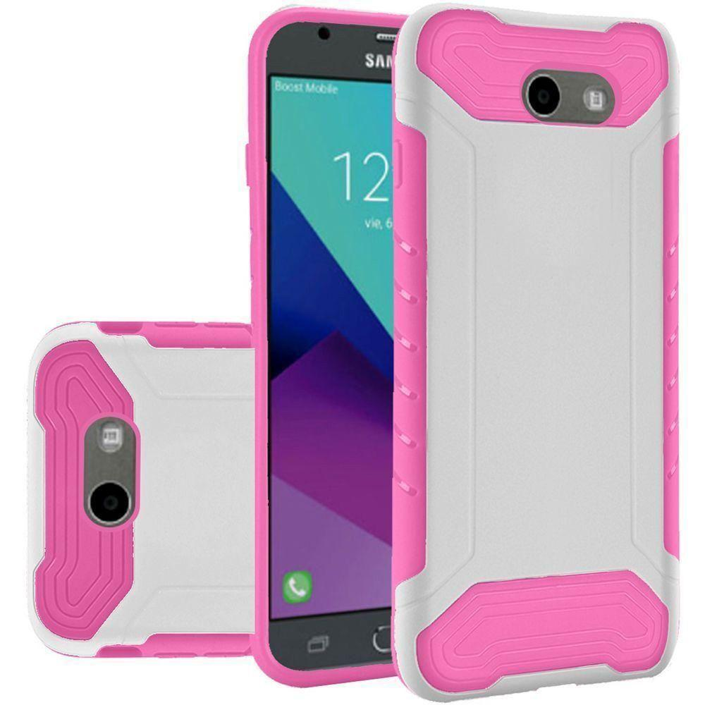 - Quantum Dual Layer Rugged Case, White/Hot Pink