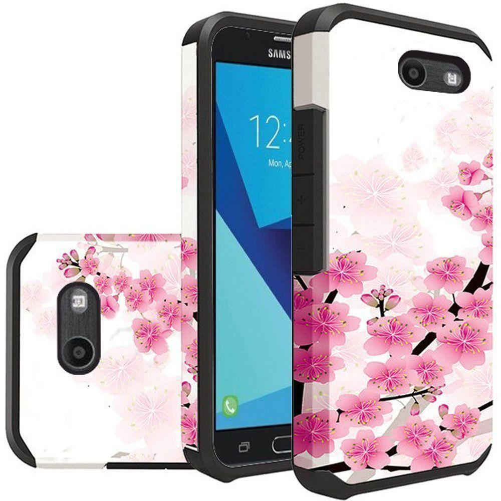 - Cherry Blossoms Design Slim Hybrid Rugged Case, Pink