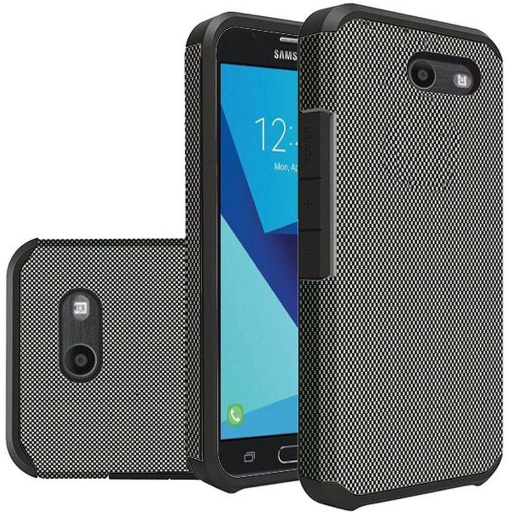 - Carbon Fiber Design Slim Hybrid Rugged Case, Black