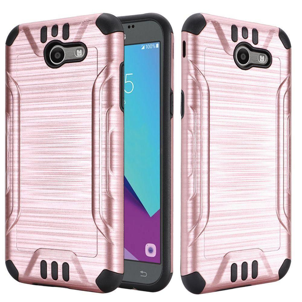 - Brushed Metal Design Combat Hybrid Rugged Case, Rose Gold/Black