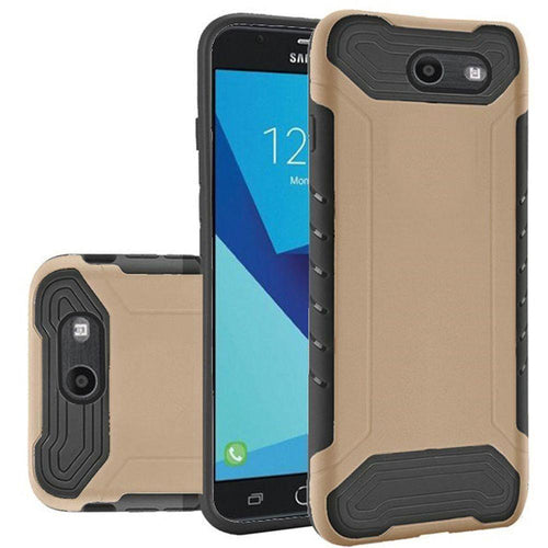 Samsung Galaxy J7 V - Quantum Dual Layer Rugged Case, Gold/Black