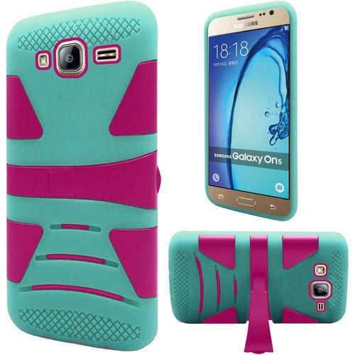 Samsung Galaxy On5 - V2 Armor Guard Rugged Case with Kickstand, Pink/Green