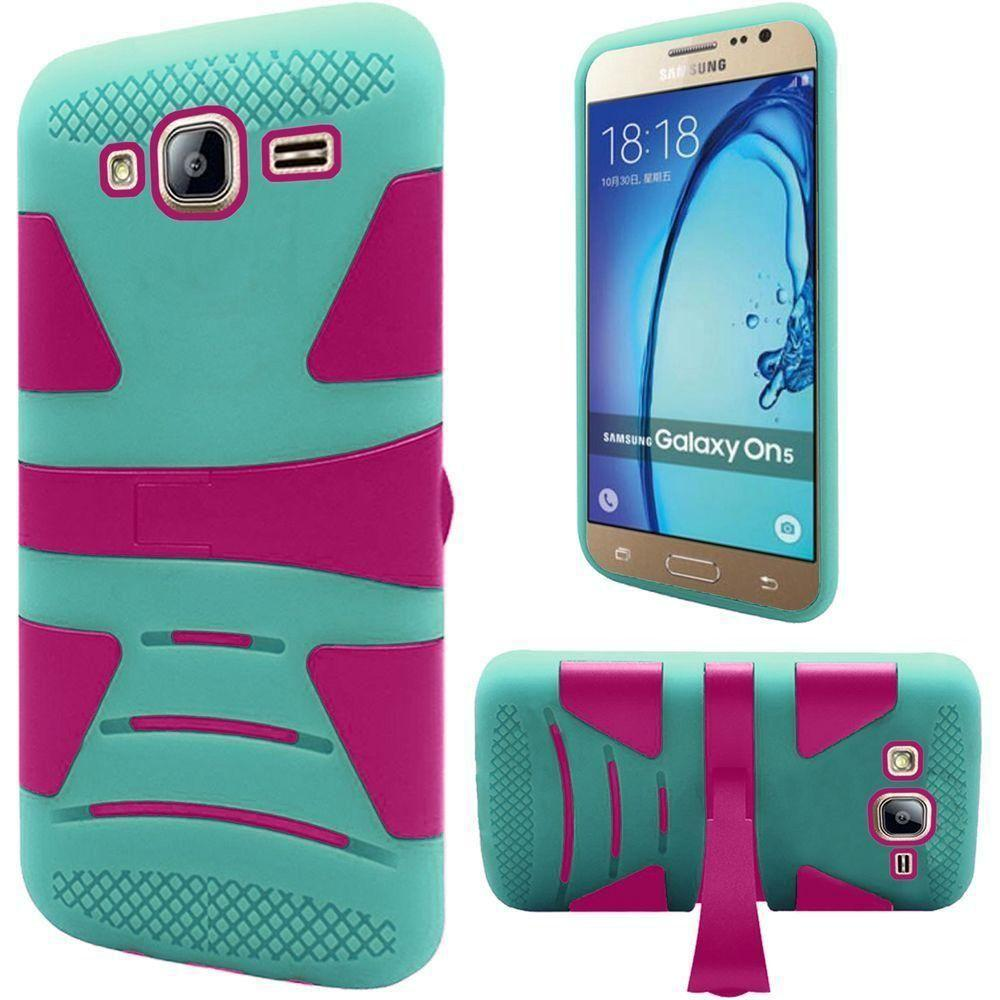 - V2 Armor Guard Rugged Case with Kickstand, Pink/Green