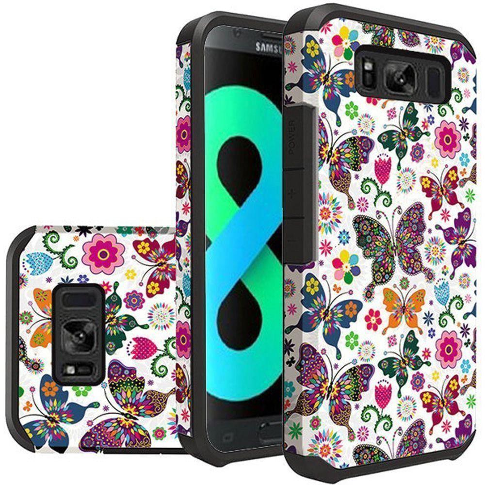 - Rainbow Butterflies Design Slim Hybrid Rugged Case, Multi-Color for Galaxy S8 Plus