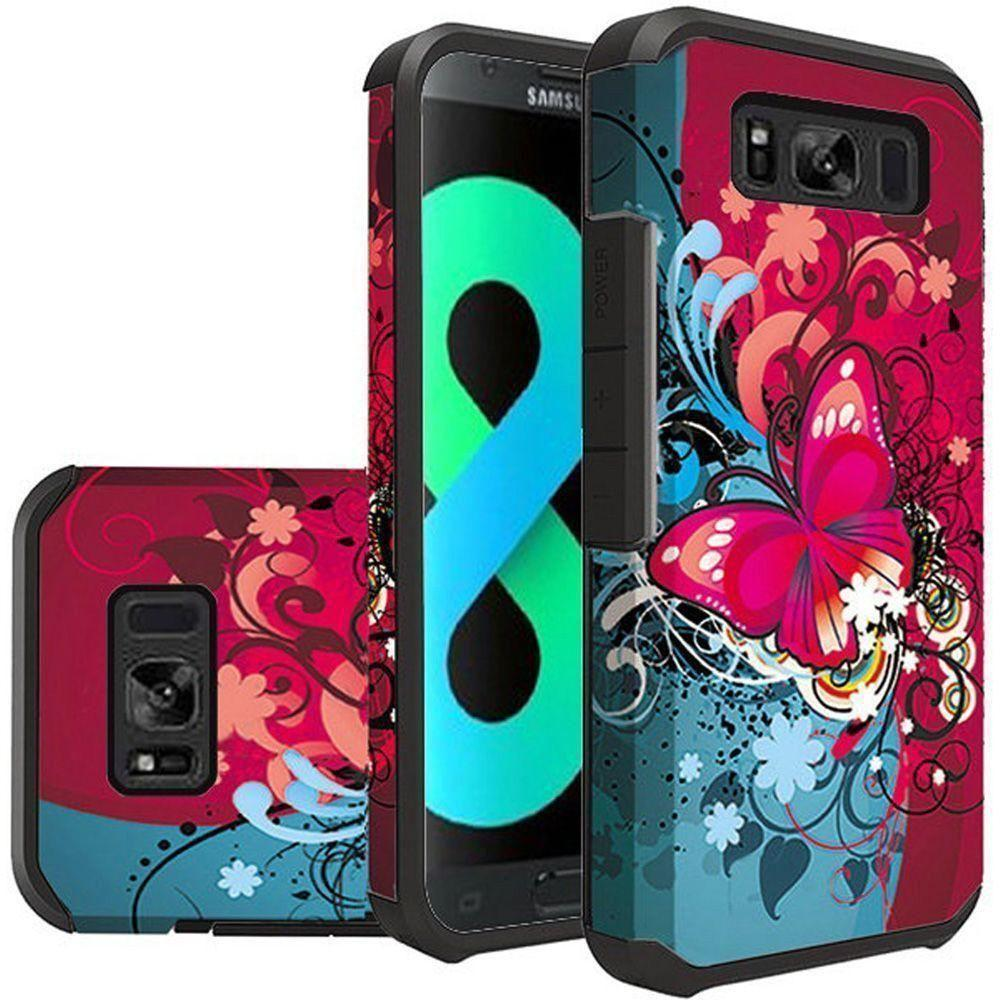 - Butterfly Harmony Design Slim Hybrid Rugged Case, Multi-Color for Galaxy S8 Plus