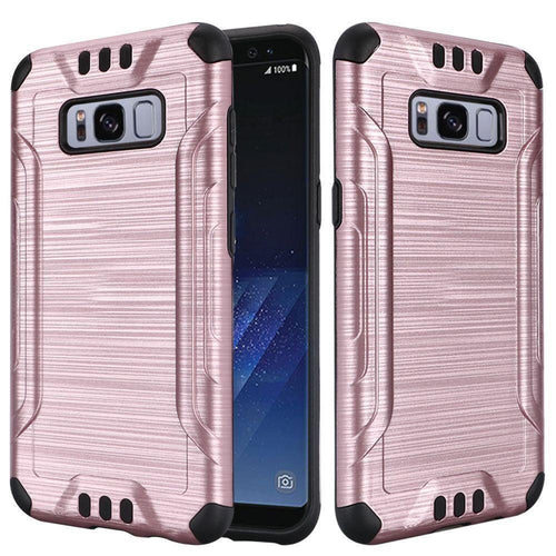 Samsung Galaxy S8 Plus - Brushed Metal Design Combat Hybrid Rugged Case, Rose Gold/Black for Galaxy S8 Plus