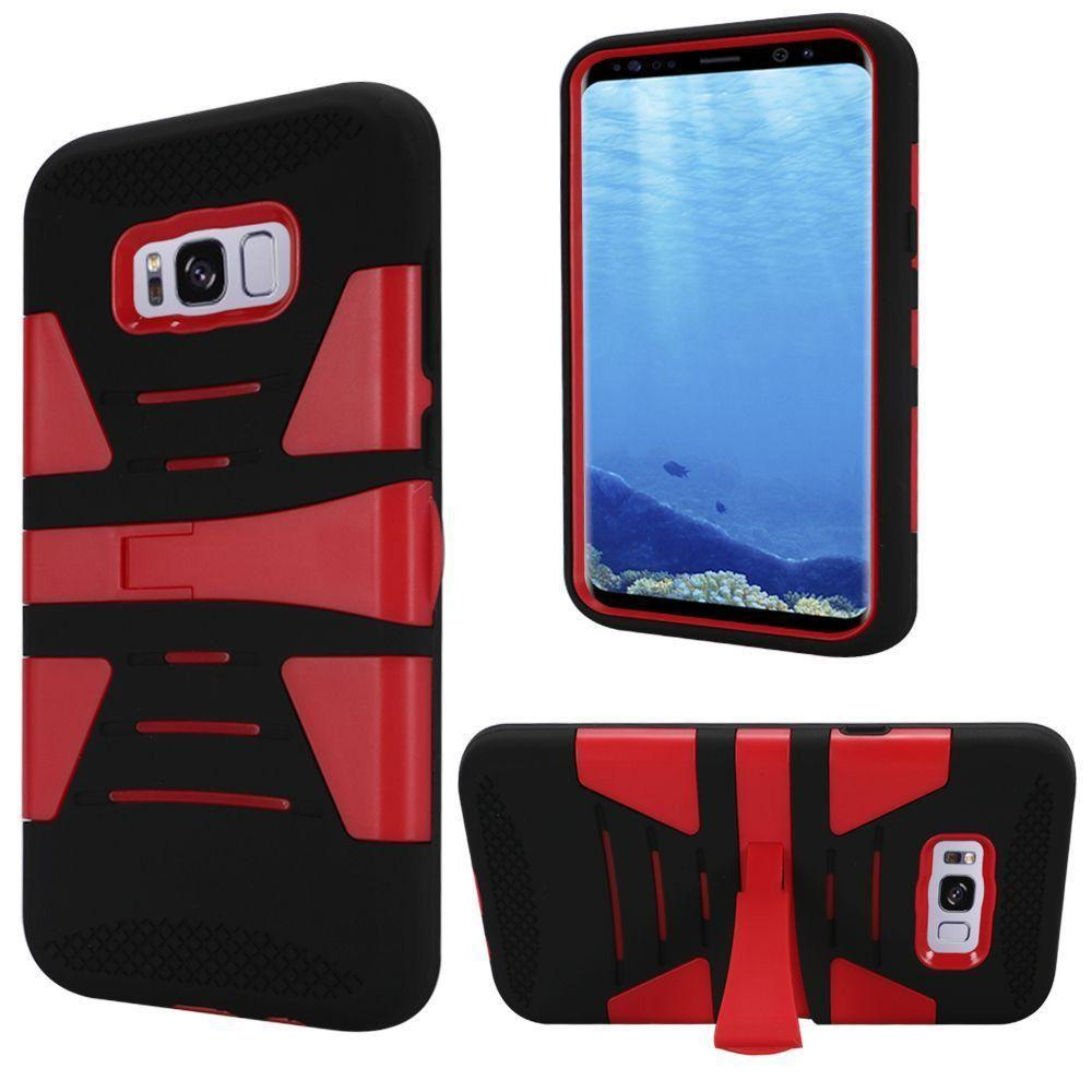 - V2 Armor Guard Rugged Case with Kickstand, Black/Red for Galaxy S8 Plus