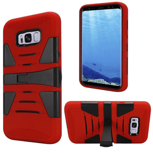Samsung Galaxy S8 Plus - V2 Armor Guard Rugged Case with Kickstand, Red/Black for Galaxy S8 Plus