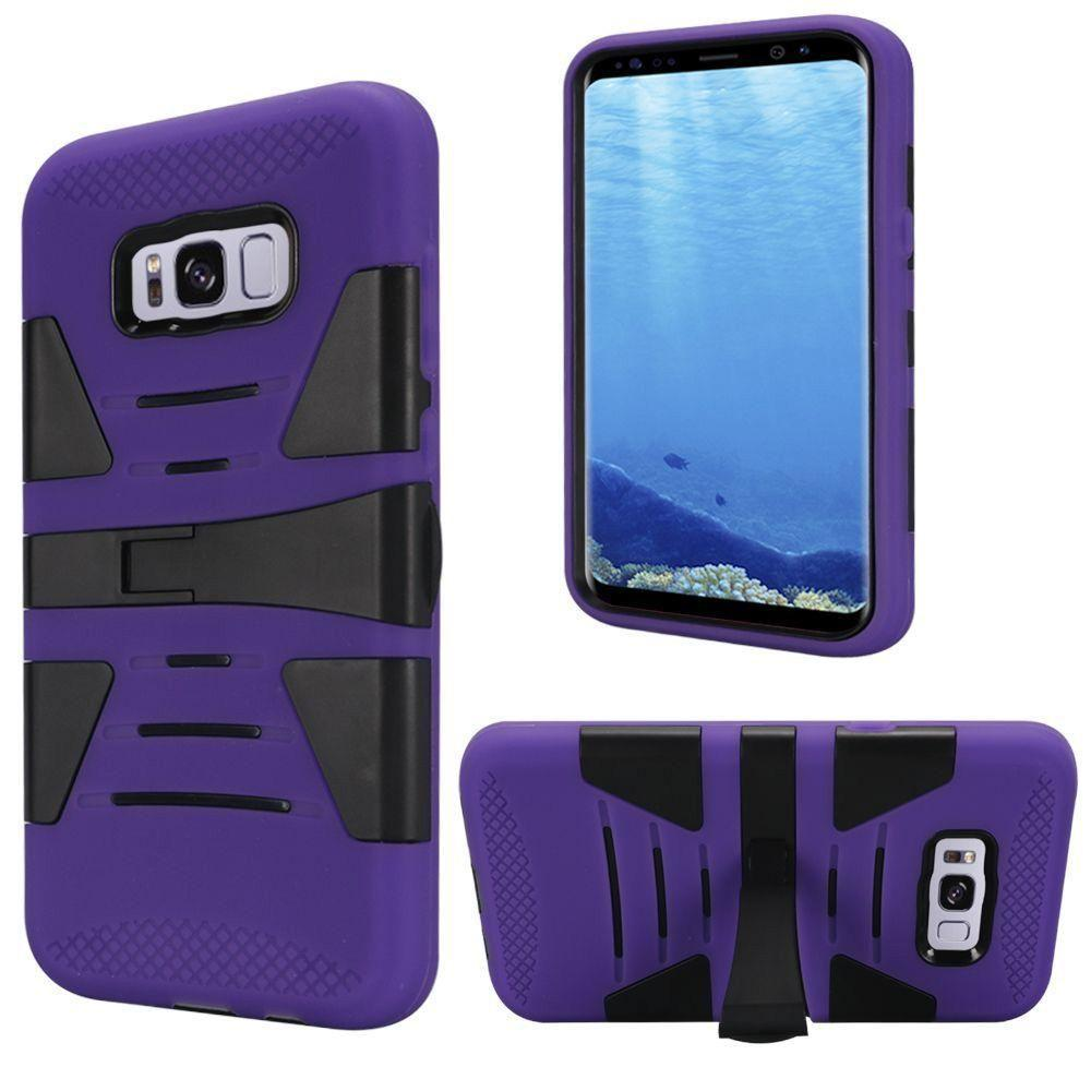 - V2 Armor Guard Rugged Case with Kickstand, Purple/Black for Galaxy S8 Plus
