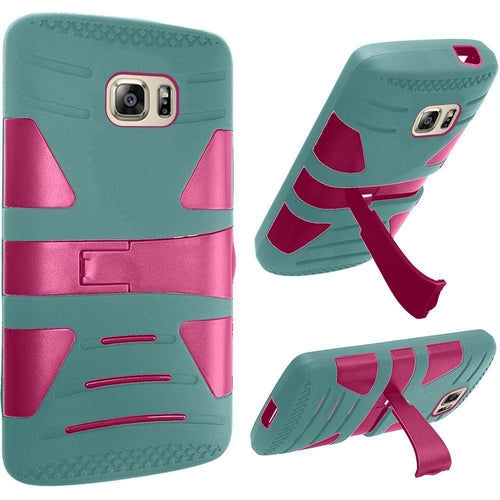 Phone Cases & Covers - V2 Armor Guard Rugged Case, Teal/Pink for Samsung Galaxy S7