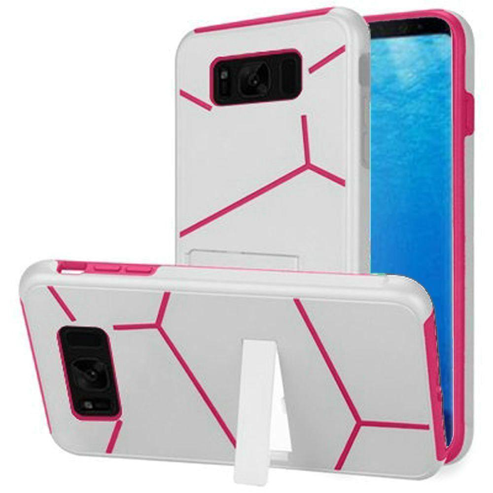 - Slim HLX Hybrid Phone Case with Kickstand, White/Hot Pink for Samsung Galaxy S8