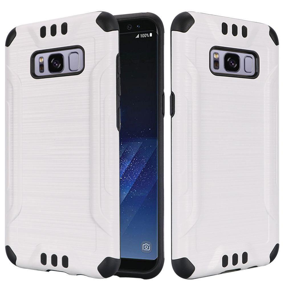- Brushed Metal Design Combat Hybrid Rugged Case, White/Black for Samsung Galaxy S8