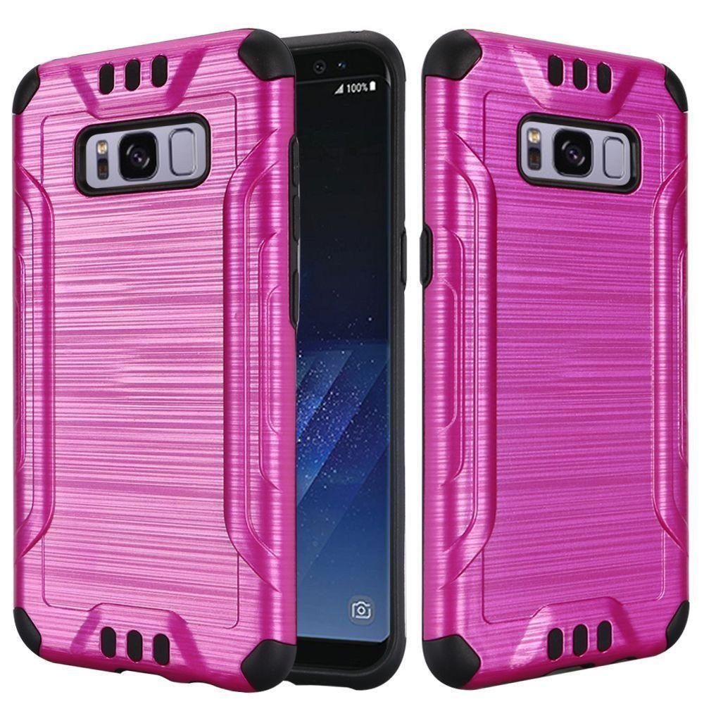 - Brushed Metal Design Combat Hybrid Rugged Case, Pink/Black for Samsung Galaxy S8
