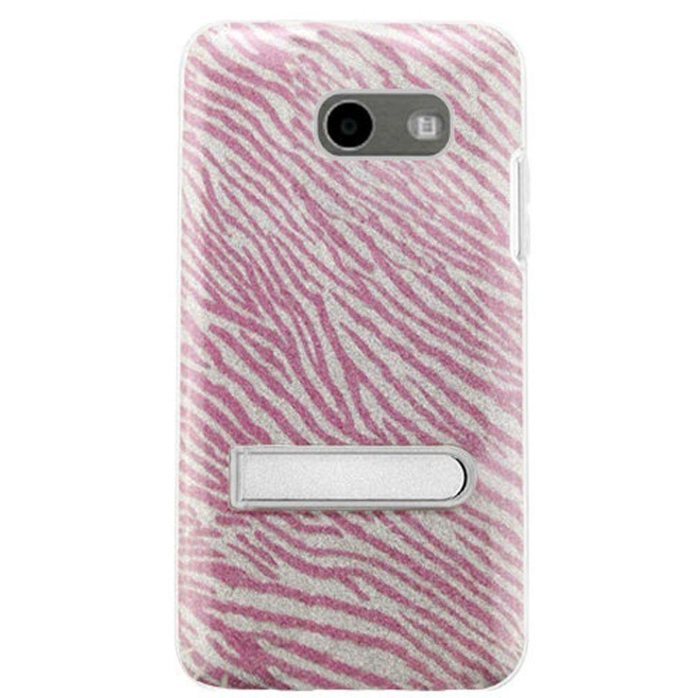 - Zebra Glitter Rugged Case with Metal Kickstand, Clear/Hot Pink