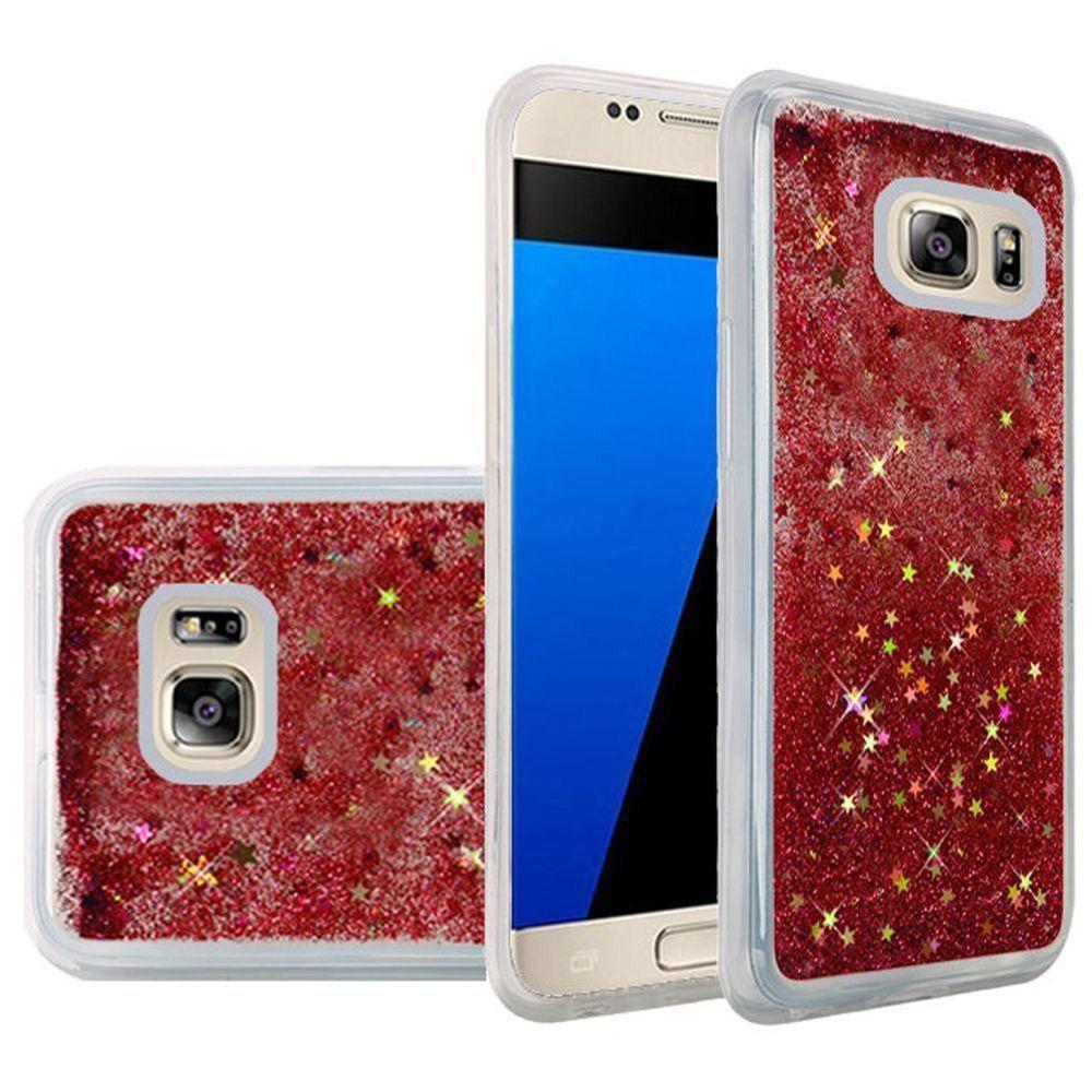 - Liquid Glitter Quicksand Flexible TPU Case, Clear/Rose Pink for Samsung Galaxy S7