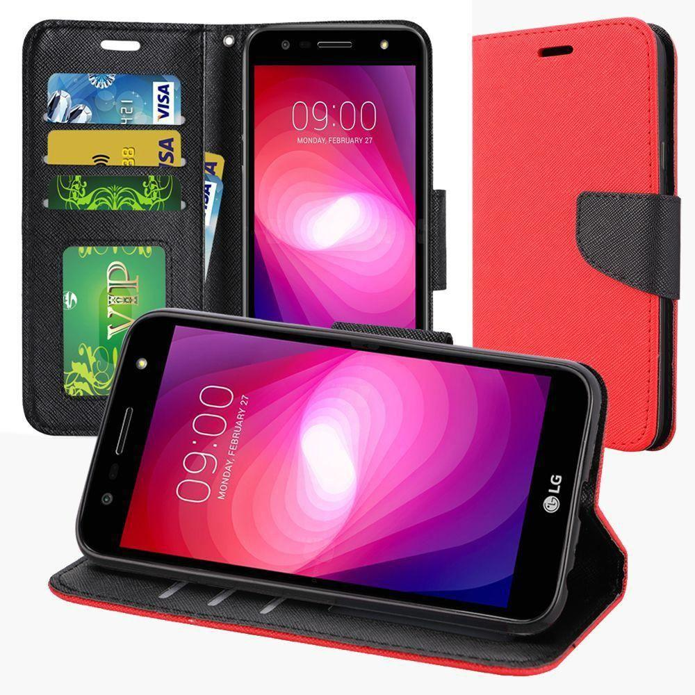 LG X Charge - Premium 2 Tone Leather Folding Wallet Case, Red/Black