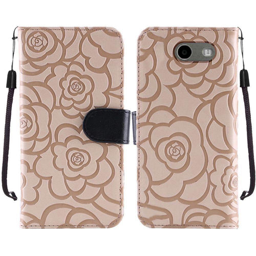 Samsung Galaxy Amp Prime 2 - Embossed Flower Design Folding Wallet Case with Wristlet strap, Brown/Black