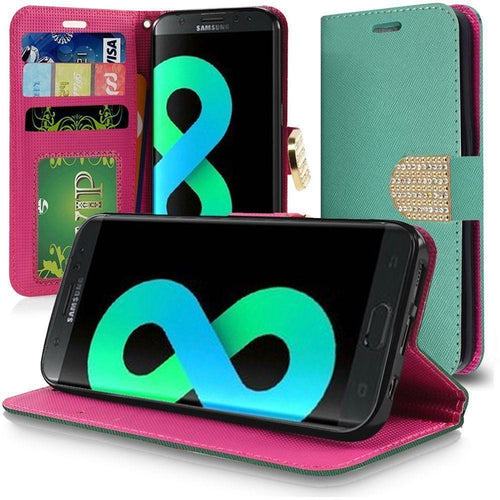 Samsung Galaxy S8 Plus - Bling Diamond Leather Wallet Case, Teal for Galaxy S8 Plus