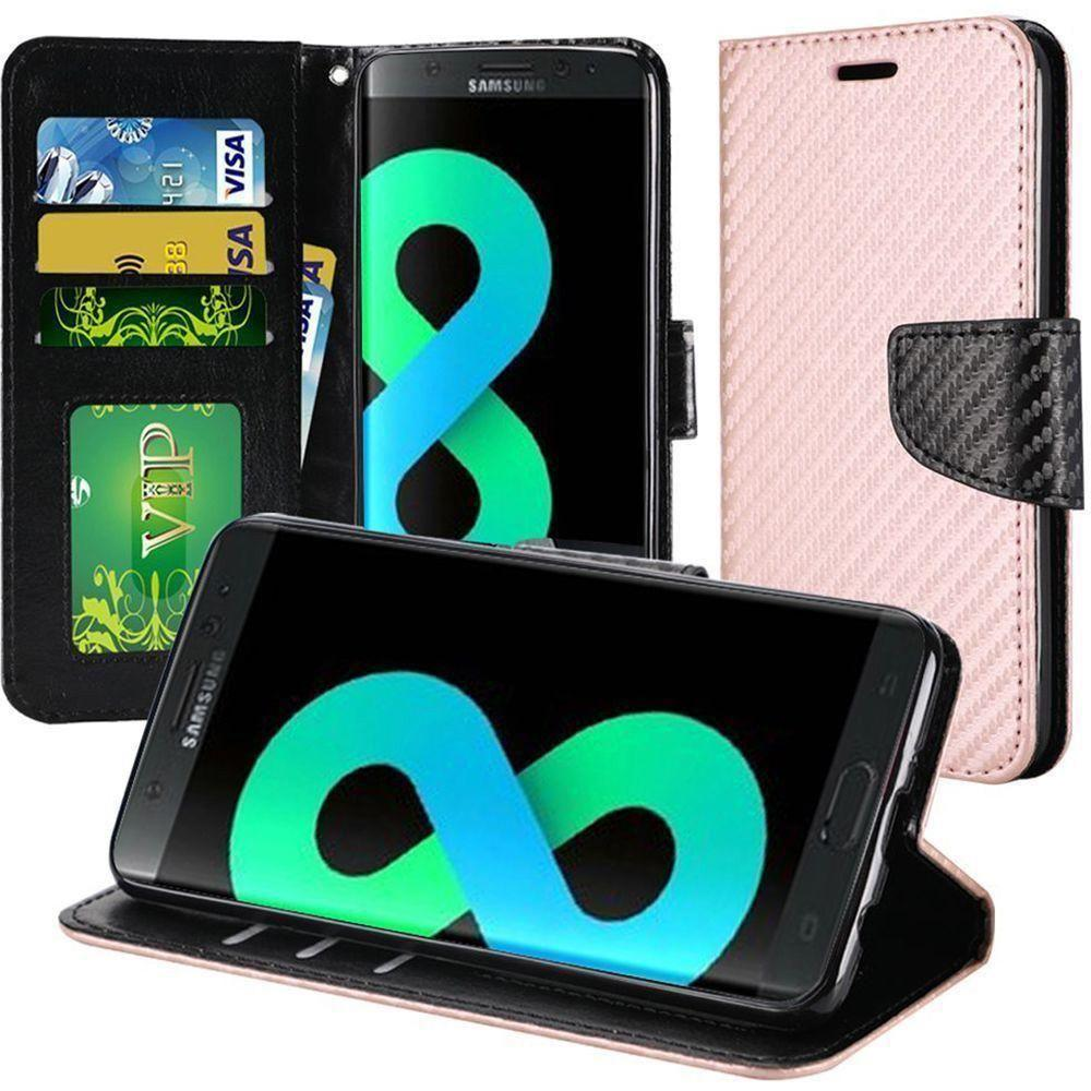 - Carbon Fiber Design Folding Wallet Case, Rose Gold for Galaxy S8 Plus