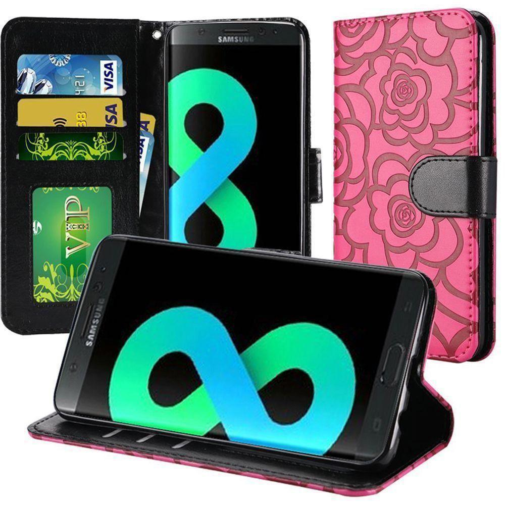 - Embossed Flower Design Folding Wallet Case with Wristlet strap, Hot Pink/Black for Galaxy S8 Plus