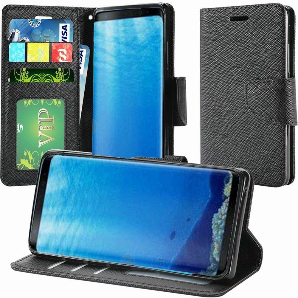 - Premium 2 Tone Leather Folding Wallet Case, Black for Samsung Galaxy S8