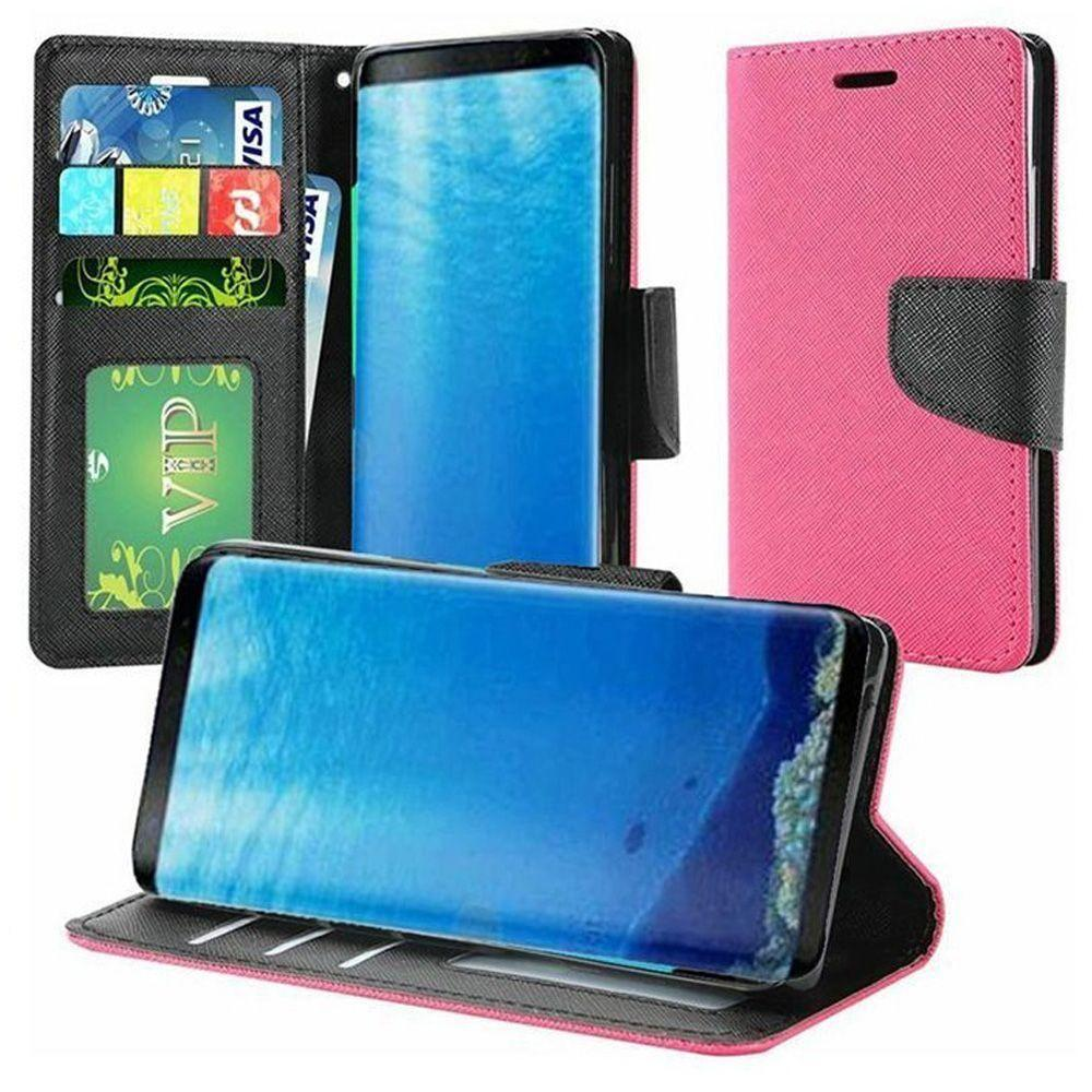 - Premium 2 Tone Leather Folding Wallet Case, Hot Pink/Black for Samsung Galaxy S8