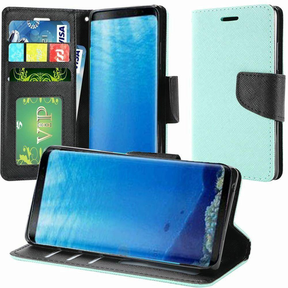 - Premium 2 Tone Leather Folding Wallet Case, Teal/Black for Samsung Galaxy S8
