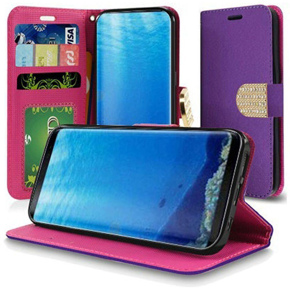 - Bling Diamond Leather Wallet Case, Purple for Samsung Galaxy S8