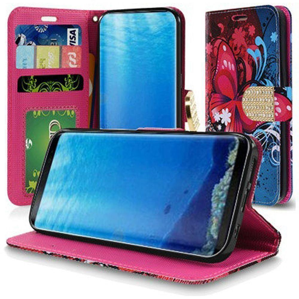 - Butterfly Harmony Swirl Shimmering Folding Phone Wallet, Pink/Blue for Samsung Galaxy S8