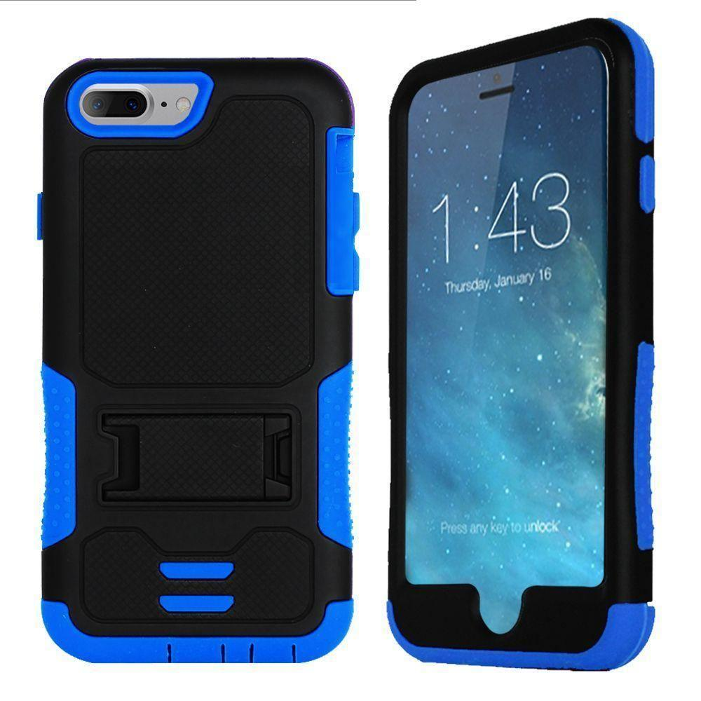 - Dual Layer Rugged Case with Kickstand, Black/Navy Blue for Apple iPhone 7/iPhone 8