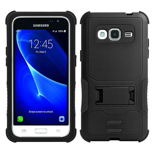 Samsung Galaxy J7 2015 - Dual Layer Rugged Case with Kickstand, Black
