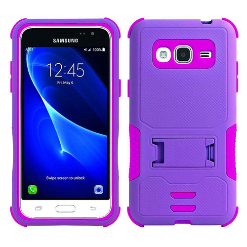 Samsung Galaxy J7 2015 - Dual Layer Rugged Case with Kickstand, Purple/Hot Pink