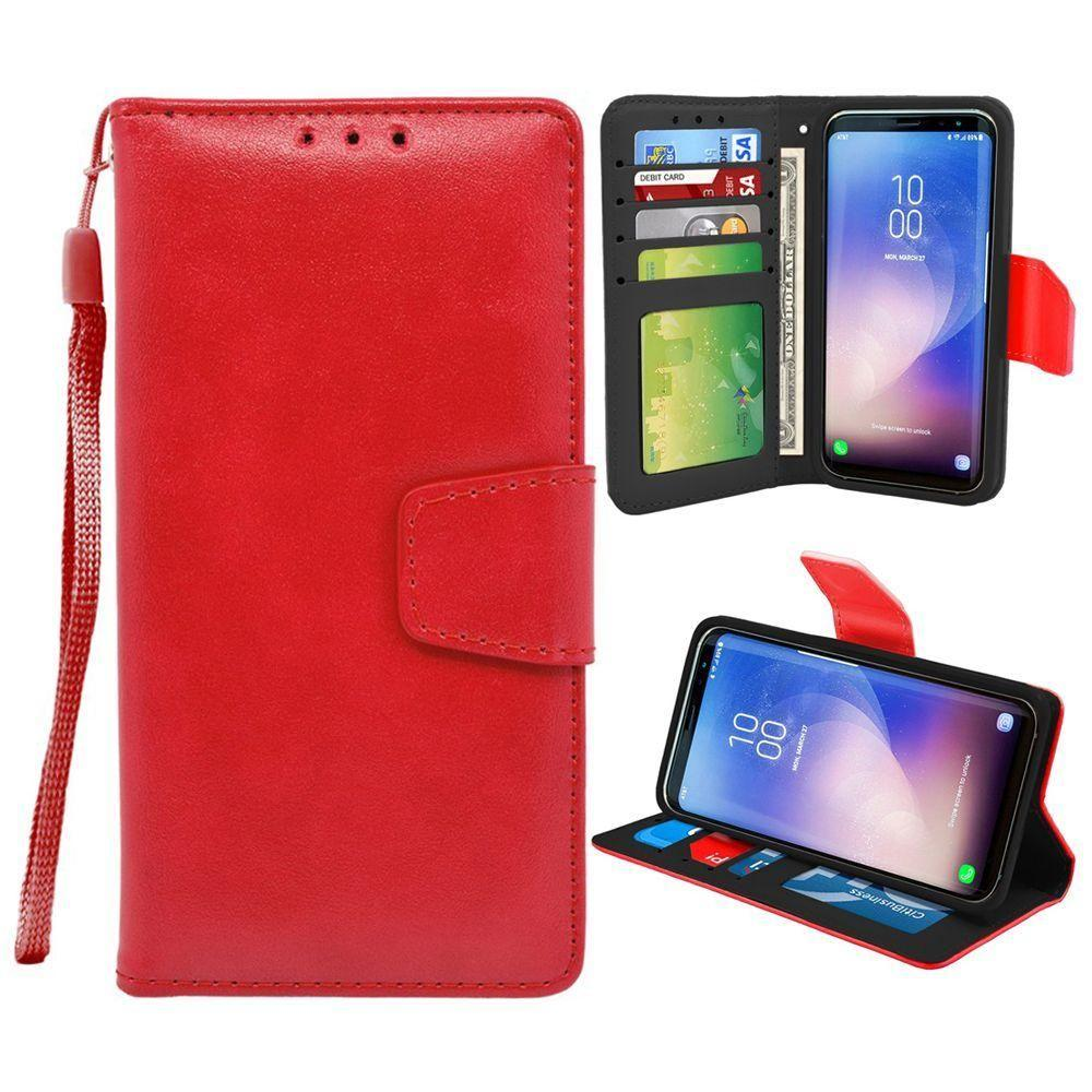 - Leather Wallet Case and Stand with Wristlet, Red for Galaxy S8 Plus