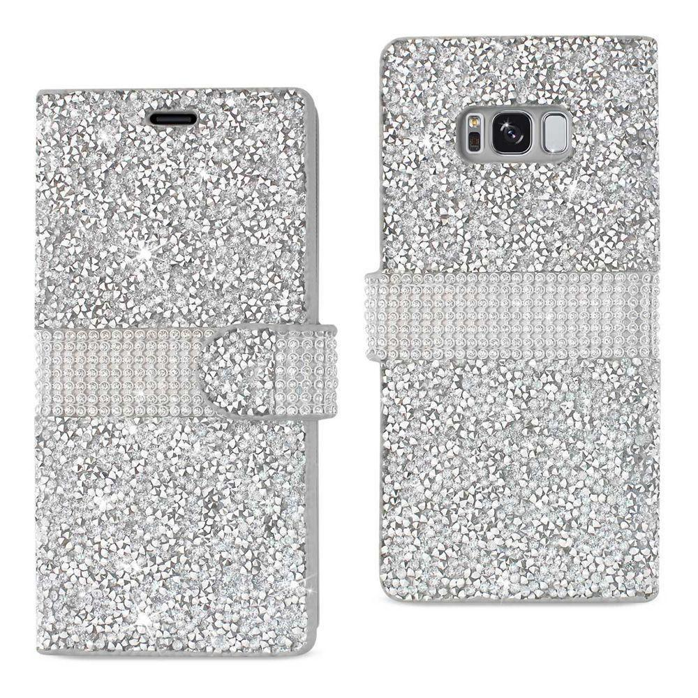 - Shimmering Rhinestone Phone Wallet Case, Silver for Samsung Galaxy S8