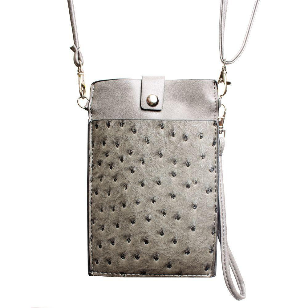 - Top Buckle Crossbody bag with shoulder strap and wristlet, Gray