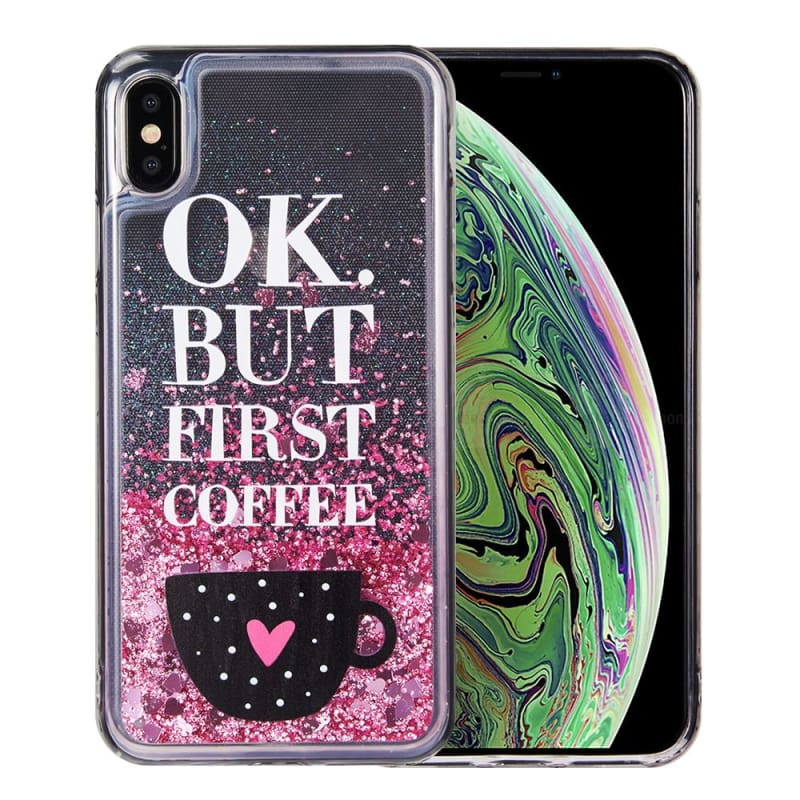 super popular c312b 90192 Apple iPhone XS Max - WaterFall Collection Liquid Sparkle OK But First  Coffee Design Case, Pink