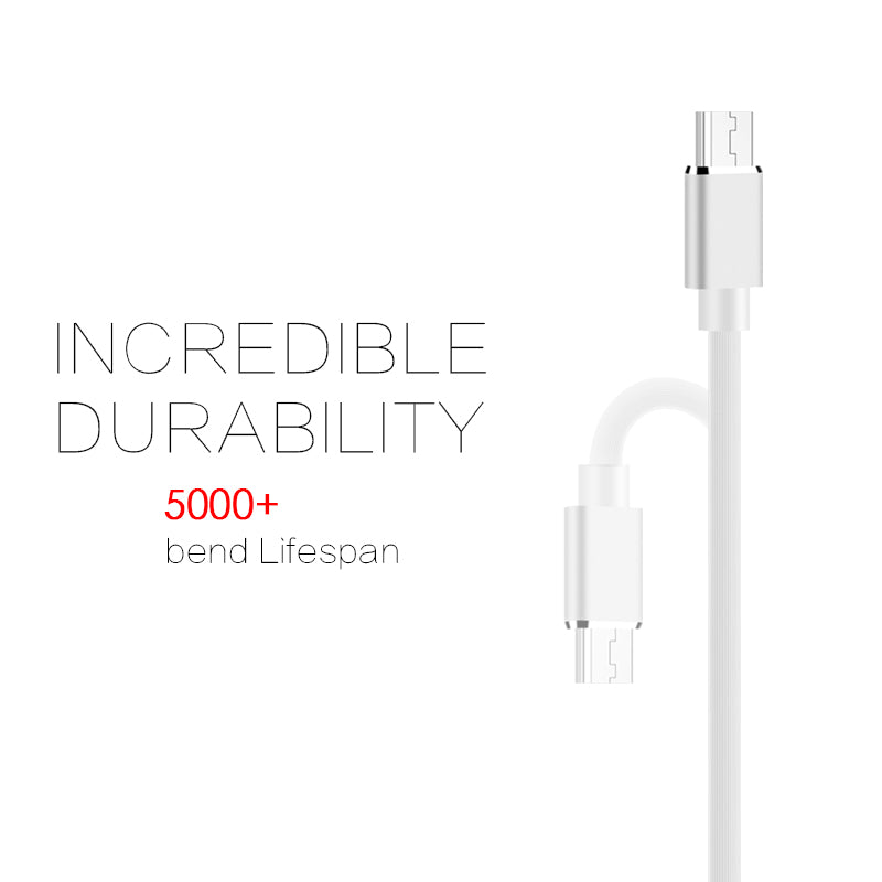 Gummy Micro USB Data Charging Cable, White