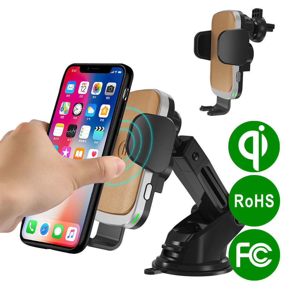 Car Phone Holder Automatic Clamping Wireless Car Charger Mount 10W QI Fast Charging Car Stand Multiple Protection for Cell Phone iPhone 8//8Plus//7//7Plus//Xs//XS MAX//XR//X Galaxy S6//S7//S8//S9 and More