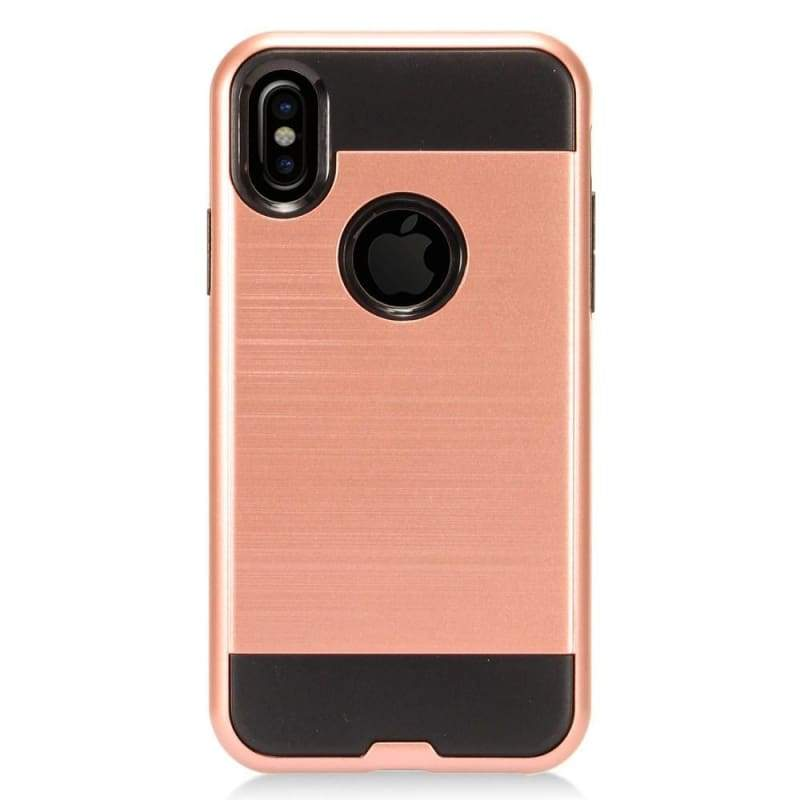 sports shoes e888d f04c3 Apple iPhone XS Fushion Metal Design Hybrid Rugged Case, Rose Gold/Black