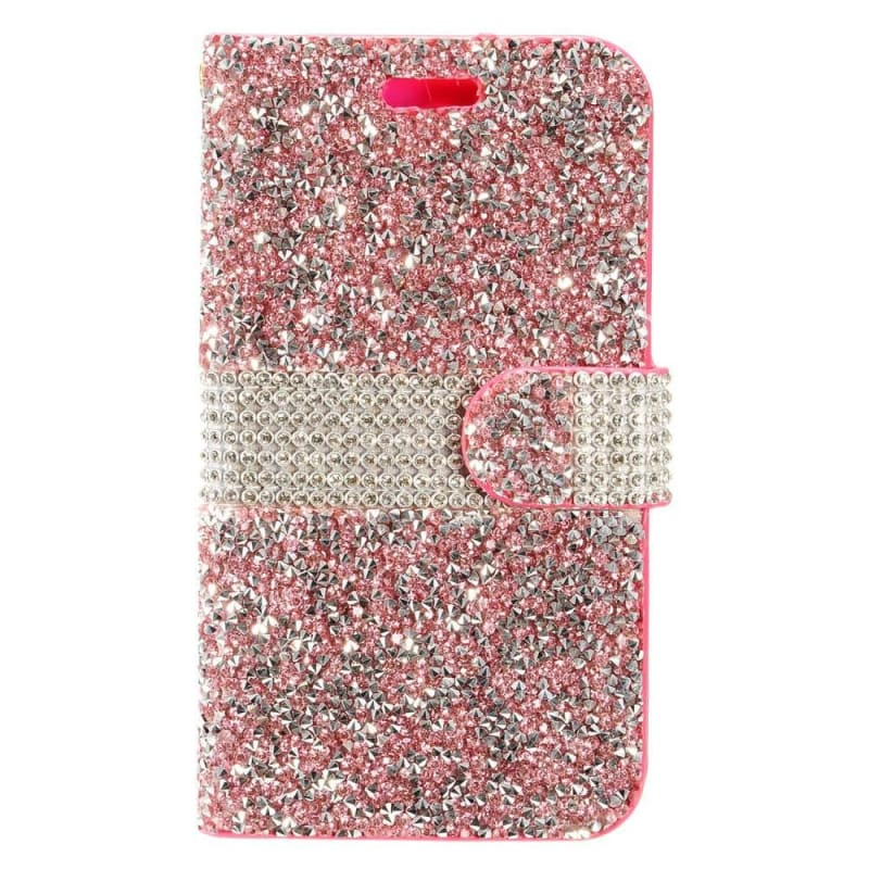 cheaper 63d1f 13701 Apple iPhone X Full Diamond Bling Wallet Case with Credit Card Pockets, Hot  Pink