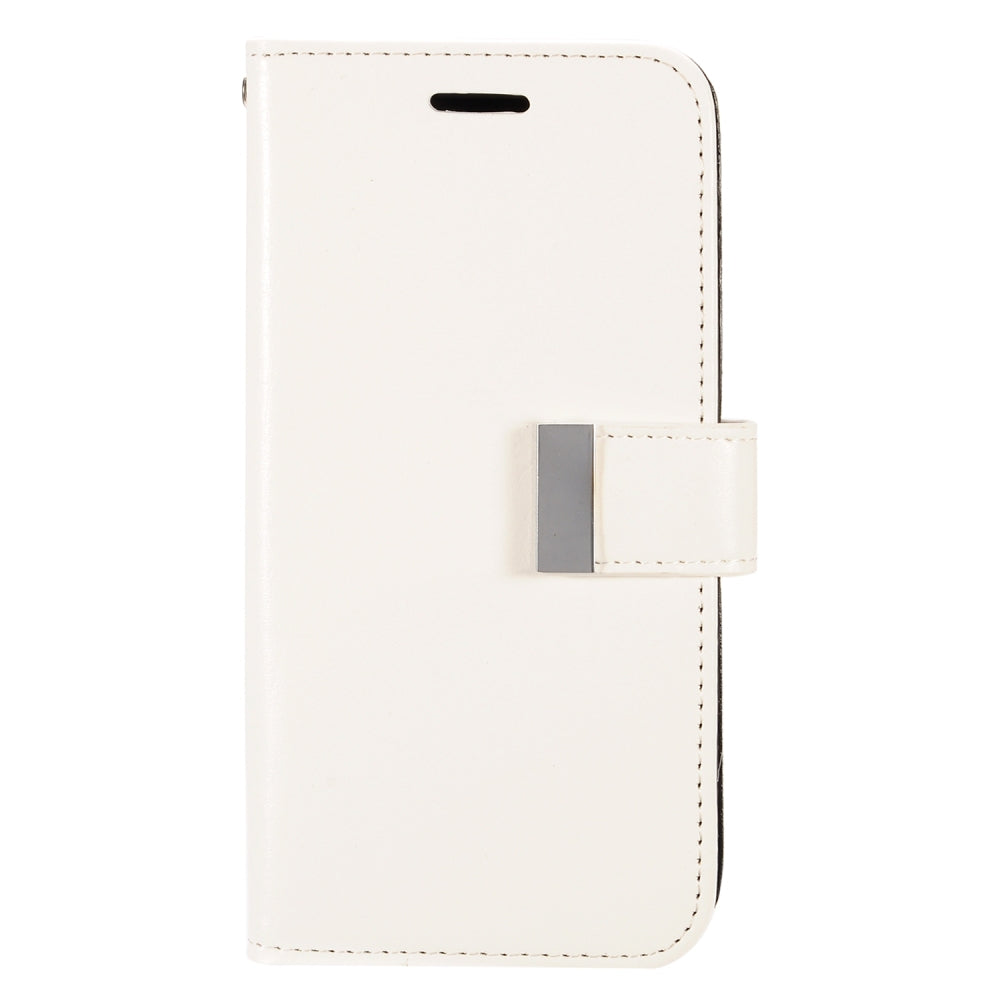 Glossy Leather Folding Wallet Case, White
