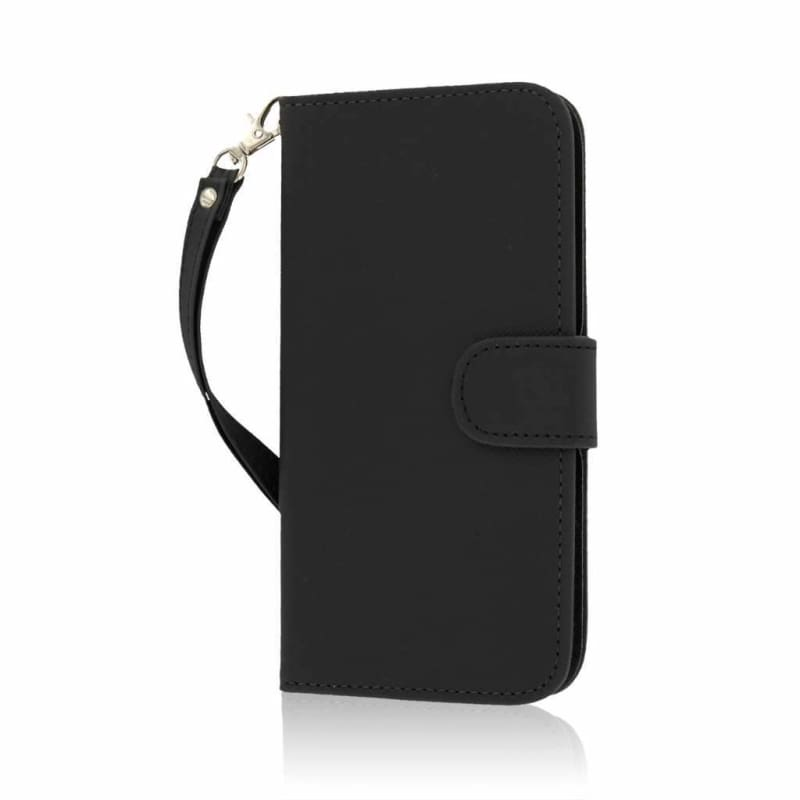 newest e9a3a 0cc92 Apple iPhone 6 Plus MPERO Faux Leather Wallet Phone Case with Card Slots  and wrist strap, Black