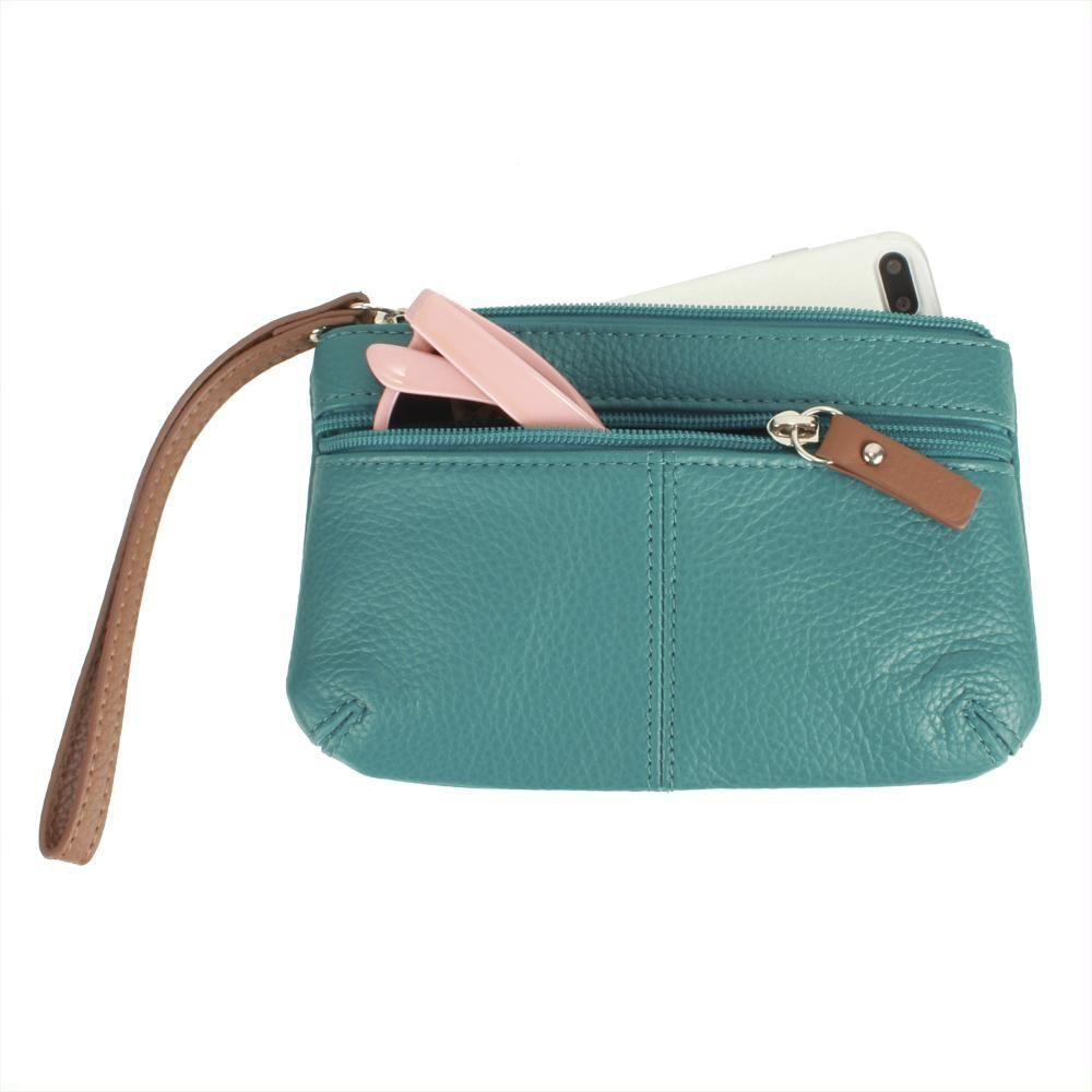 - Genuine Leather Hand-Crafted Phone Clutch with Wristlet, Teal
