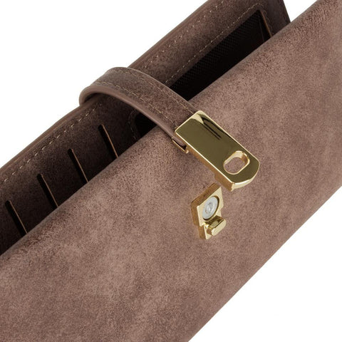Slim Vegan Leather Clutch Wallet With Strap Closure Light Brown Phone Wallets Wristlets & Clutches