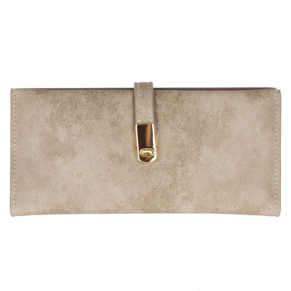 - Slim Vegan Leather Clutch Wallet with Strap Closure, Taupe