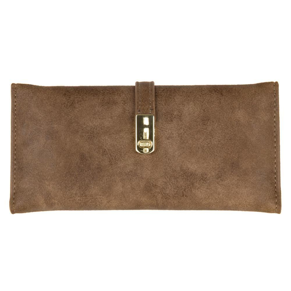 - Slim Vegan Leather Clutch Wallet with Strap Closure, Brown